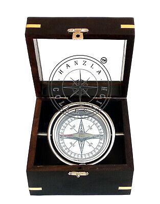 Vintage Maritime Brass Gimbal Compass in Wooden Box Nautical Ship Boat Decor