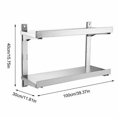 2 Shelves Kitchen Stainless Steel Shelf Commercial Kitchen Workshops and Stores