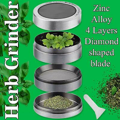 New 4 Piece Herb Grinder Spice Tobacco Smoke Zinc Alloy Crusher With Scoop