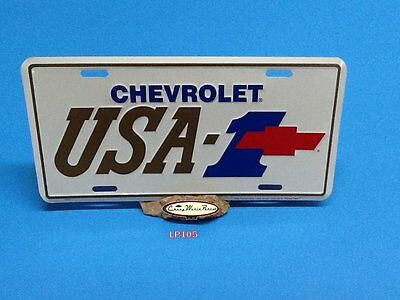 Chevrolet Usa-1 Aluminum License Plate Embossed Car Tag Gold & Blue Red Bowtie