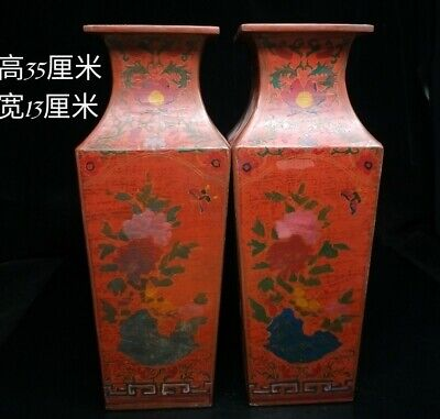 "14"" Chinese old Antique Lacquer ware hand painting flowers plants Vase pair"