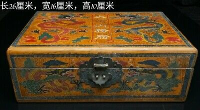 Chinese old Antique Qing hetian jade stone with dragon wood box