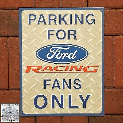 Parking for Ford Racing Fans Only TIN SIGN garage wall decor metal poster 1062