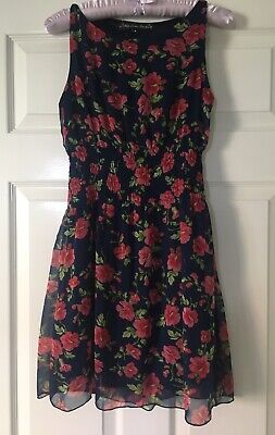 GREAT CONDITION! New Look (Mela London) Navy Blue Pink Floral Summer Dress, UK 8