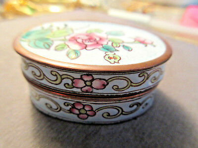 Vintage Small Oval Enamel Cloisonne Asian Chinese Floral Trinket/ Pill Box