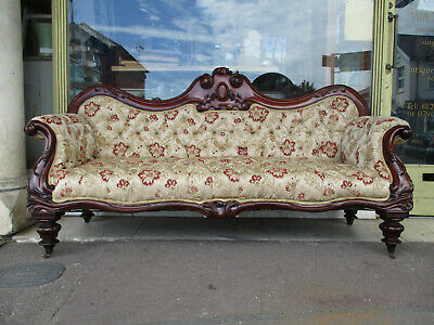 Large Carved Victorian Antique Mahogany Upholstered Sofa ( Newly Upholstered )
