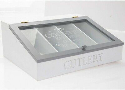 Country Kitchen Cutlery Box In White & Grey With Glass Lid