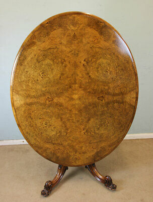 Antique Burr Walnut Loo Table , Victorian Breakfast Tilt Top Centre Lamp Table