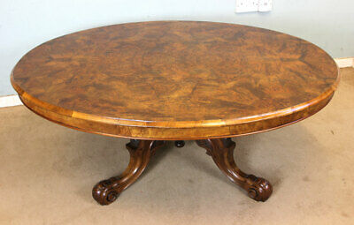 Antique Burr Walnut Coffee Table, Victorian Low Occasional Lamp Side Table