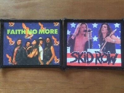 "Coppia Toppe Patch Rock Band Vintage ""SKID ROW / FAITH NO MORE"" Stampate"