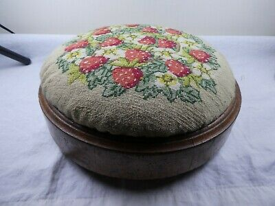 Vintage Edwardian / Victorian Embroidered strawberries small padded footstool.