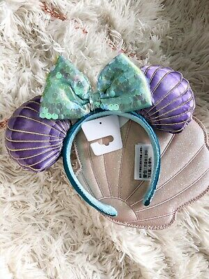 NEW Disney Parks Little Mermaid Shell Ariel Minnie Ears 2019 Sequin Bow IN HAND