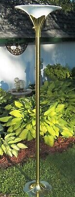 Antique Lg Art Deco Cast Iron Glass Sconce Shade Torchiere
