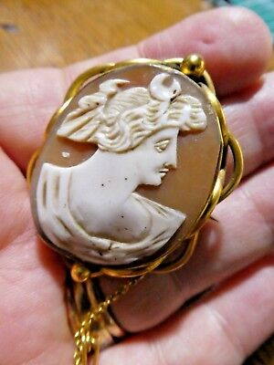 Large Antique Victorian Italian Carved Shell Cameo Brooch/Pin Diana / Selena