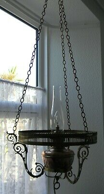 Large Copper and Brass Victorian Ships Hanging Oil Lamp Converted To Electric
