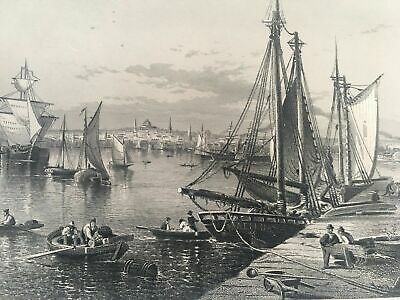 """1873 Engraving Titled """" City Of Boston """" From A Painting By  J.d. Woodward"""