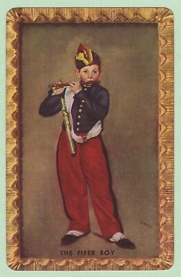 1 Single VINTAGE Swap/Playing Card BOY PLAYING FLUTE NAMED THE FIFER Manet ART