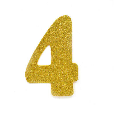 "EVA Glitter  Foam Number Cut Out ""4"", Gold, 4-1/2-Inch, 12-Count"