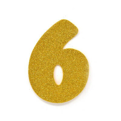 "EVA Glitter Foam Number Cut Out ""6"", Gold, 4-1/2-Inch, 12-Count"