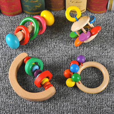 Colorful Wooden Baby Rattles Hand Bell Grasp Toy Musical Educational Toy For Kid