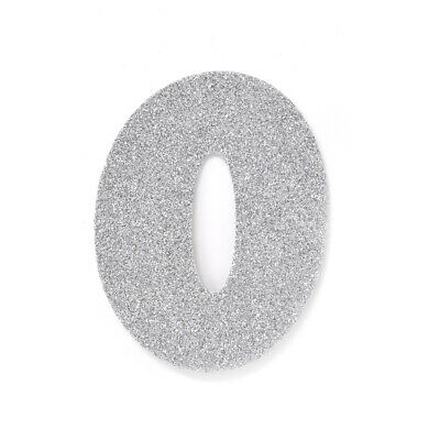 "EVA Glitter Foam Number Cut Out ""0"", Silver, 4-1/2-Inch, 12-Count"