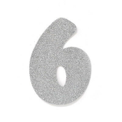 "EVA Glitter Foam Number Cut Out ""6"", Silver, 4-1/2-Inch, 12-Count"