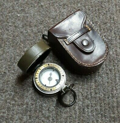 Rare US Army WWII WW2 Olive M1938 Lensatic Compass with M1916 Leather Case #206