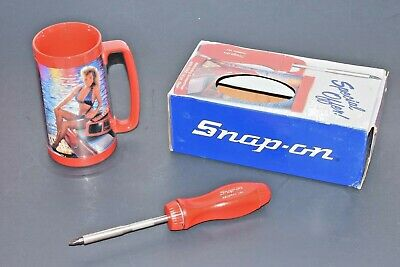 NEW RARE Snap-On Tools Magnetic Ratcheting Screwdriver Collectors Stein Mug Bits
