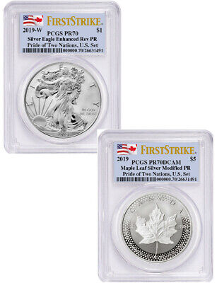 2019 2-Coin Pride of Two Nations Set Silver Eagle Maple FS PCGS PR70