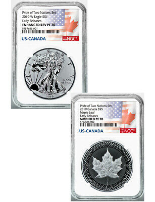2019 2-Coin Pride of Two Nations Set Silver Eagle Maple ER NGC PF70