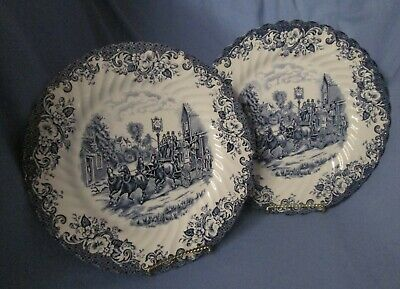 Johnson Brothers Coaching Scenes  2 dinner plates w/ double Queen royal warrants