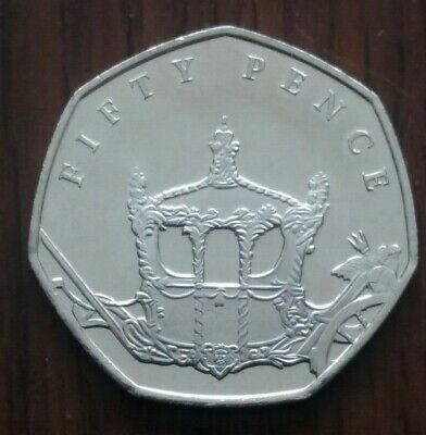 2018,Isle Of Man 50 Pence Coin - 65th Sapphire Anniversary Coronation Coach,UNC.