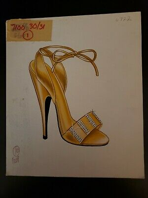 Orig Concept Art Frederick's of Hollywood Advertising Shoes-Gold Bling Stiletto