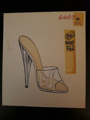 Original Concept Art Frederick's of Hollywood-Advertising-Shoes- Silver/Clear