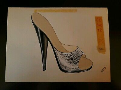 Original Concept Art Frederick's of Hollywood-Advertising-Shoes-Silver & Black