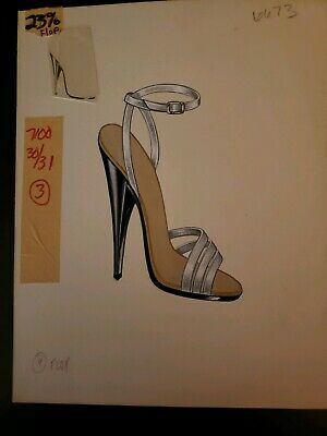 Orig Concept Art Frederick's of Hollywood-Advertising-Shoes-Silver Stilettos