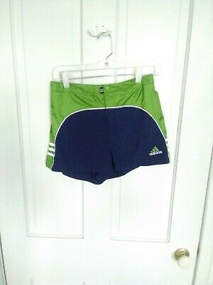 Vintage 90s adidas Spell Out stripes Running Shorts girls x Large, green navy