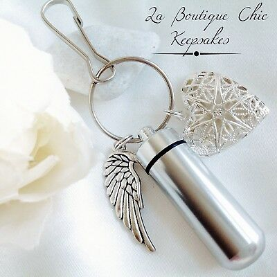 Memorial Photo locket & Angel Wing Cremation Ashes Urn Keyring keepsake gift