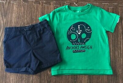 Gymboree Boys Size 18-24 Months Anchors Aweigh Skull T-Shirt  Shorts Green Navy