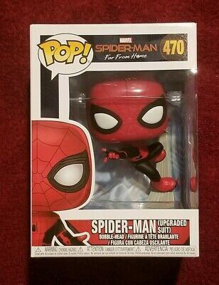 Funko Pop! Marvel #470 Spider-Man Upgraded Suit Far From Home In Hand