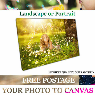 Your Photo Picture on Canvas Print A1 A2 A3 A4 Framed Ready to Hang hanging Kits