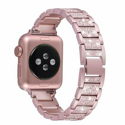 38/40mm Apple Watch Series4321 Stainless Steel Wrist Band Strap Rose Gold Bling
