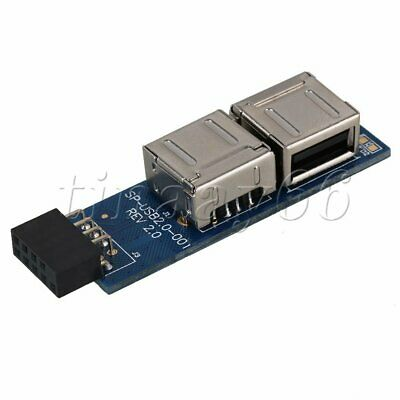 Motherboard 9 Pin USB Header to Dual USB2.0 A Female Ports Adapter Type I