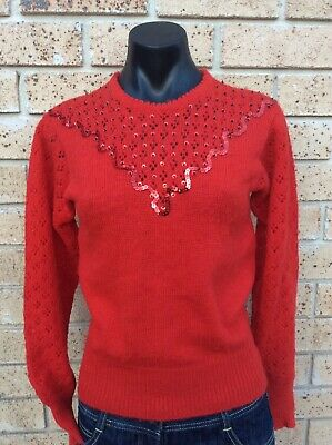 VINTAGE Red Wool Jumper Size S 8/10 Sequinned 80s Retro Era 50s Look Sweater