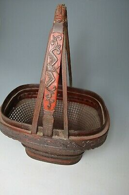 Fine large Antique Chinese bamboo lacquer wedding flower basket  中国古董