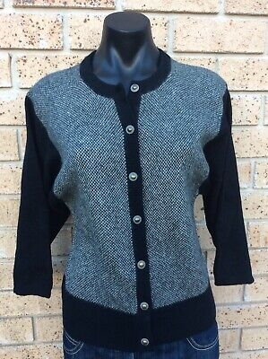 Angora Cardigan Vintage Super Warm Wool Black & Cream Size S Retro Knitted Cardi