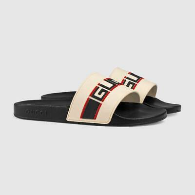 b4cb5adc8 Gucci Men's stripe Sport Slides Sandals US 9 Receipt 522884 Authentic black