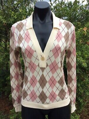 Vintage AQUASCUTUM Jumper Made In Italy 100% Cotton S Ivory Pink Beige Sweater