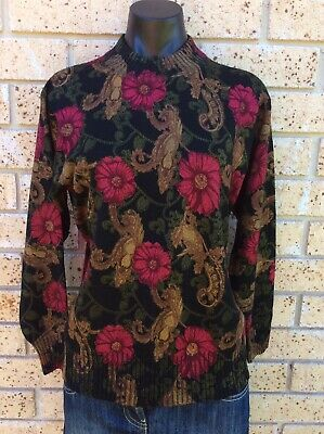 Classic Vintage Wool Jumper Size L Floral Red Rose Black Tan Retro 80's Sweater