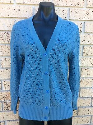 Vintage 100% Pure Wool Cardigan SLADE Teal Blue SUPER WARM Size M Retro 70s knit